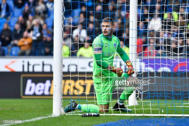Genk's goalkeeper Thomas Didillon pictured during a soccer match between KRC Genk and Club Brugge Sunday 01 March 2020 in Genk on day 28 of the...
