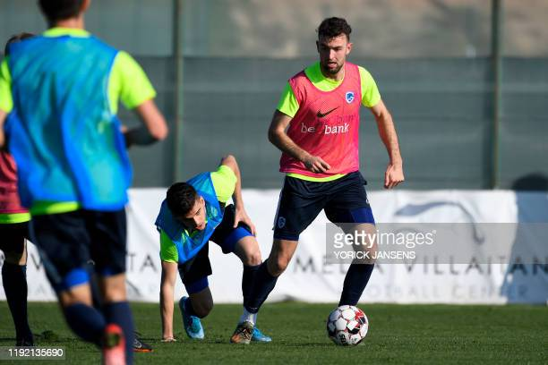 Genk's Ianis Hagi and Genk's Dries Wouters fight for the ball during the winter training camp of Belgian first division soccer team KRC Genk in...