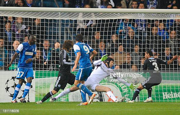 Genk's Jelle Vossen scores during the the UEFA Champions League Group E football match between Krc Genk and Chelsea at the Cristal Arena stadium in...