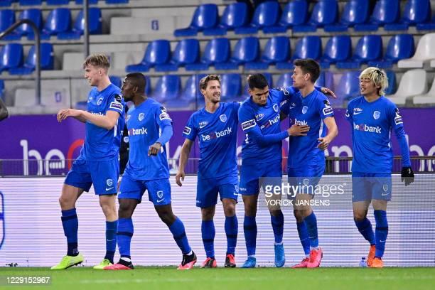 Genk's Joakim Maehle Pedersen celebrates after scoring during the Jupiler Pro League match between KRC Genk and Sporting Charleroi, Sunday 18 October...