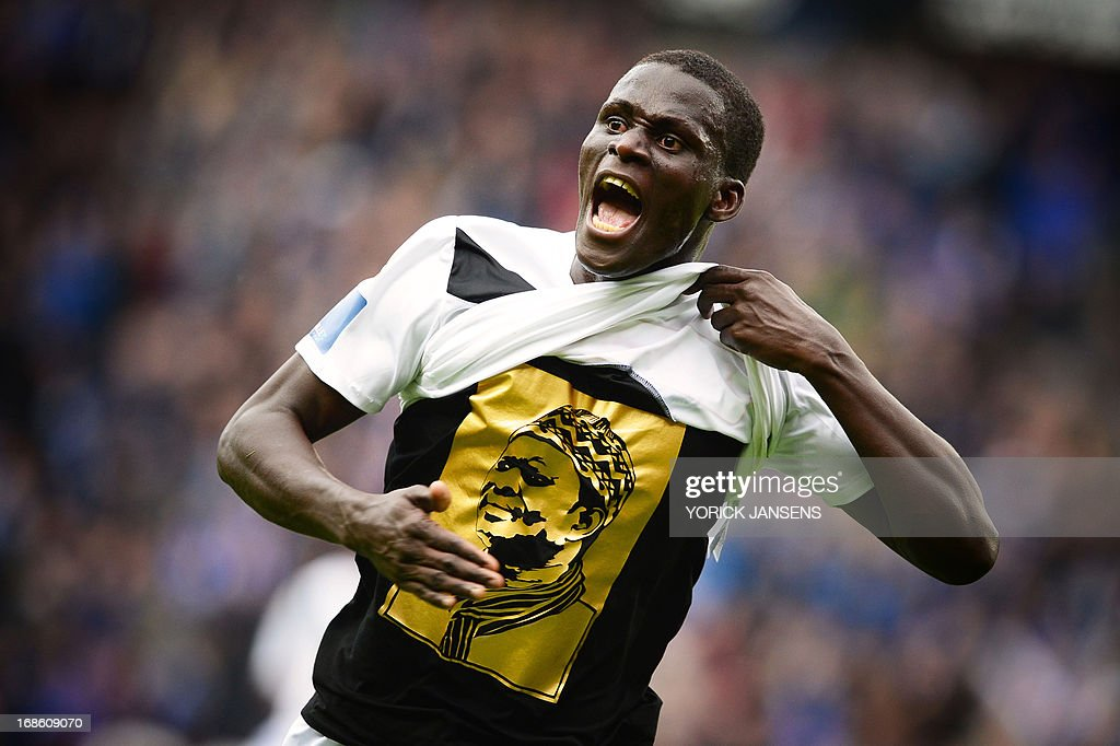 Genk's Kara Mbodj celebrates after scoring the 1-1 goal during the Belgian Jupiler Pro League football match between RC Genk and RSCA Anderlecht, on the eighth day of the Play-Off 1 of the Belgian football championship , in Genk, on May 12, 2013.