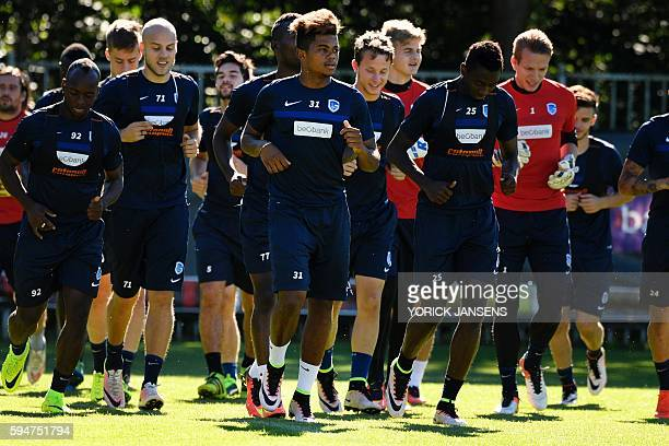 Genk's Leon Bailey takes part in a training session with his teammates in Genk a day before the UEFA Europa League playoff football match between KRC...