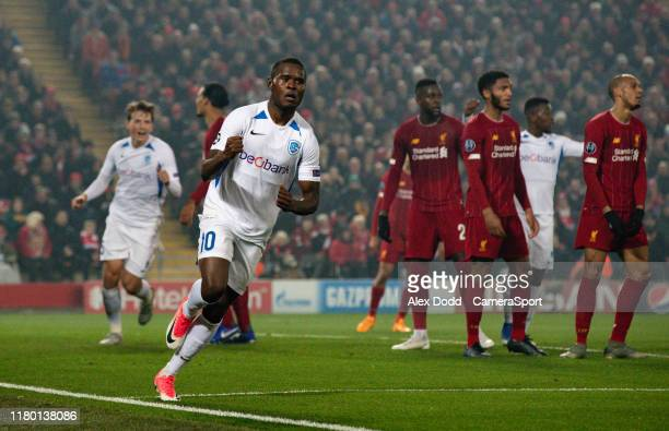 Genk's Mbwana Samatta celebrates after scoring his side's first goal during the UEFA Champions League group E match between Liverpool FC and KRC Genk...