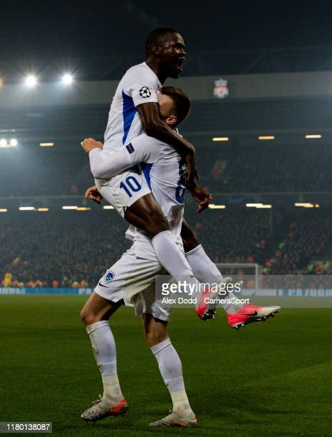 Genk's Mbwana Samatta celebrates with Bryan Heynen after scoring his side's first goal during the UEFA Champions League group E match between...