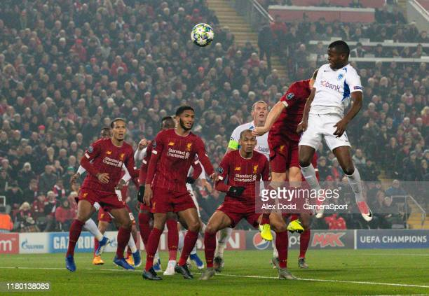 Genk's Mbwana Samatta scores his side's first goal during the UEFA Champions League group E match between Liverpool FC and KRC Genk at Anfield on...