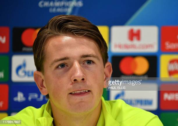 RC Genk's Norwegian midfielder Sander Berge attends a press conference at Anfield stadium in Liverpool north west England on November 4 on the eve of...