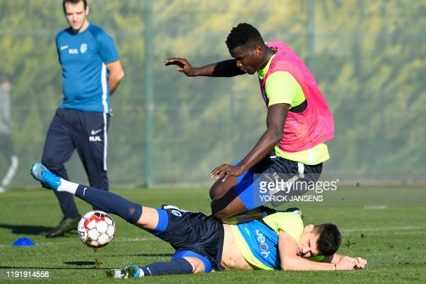 Genk's Paul Onuachu and Genk's Ianis Hagi fight for the ball during the winter training camp of Belgian first division soccer team KRC Genk in...