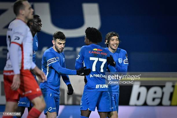 Genk's Paul Onuachu, Genk's Bastien Toma, Genk's Angelo Preciado and Genk's Junya Ito celebrate after scoring during a soccer match between KRC Genk...