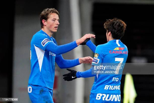 Genk's Sander Berge and Genk's Junya Ito celebrate during a soccer match between Zulte Waregem and KRC Racing Genk Sunday 19 January 2020 in Waregem...