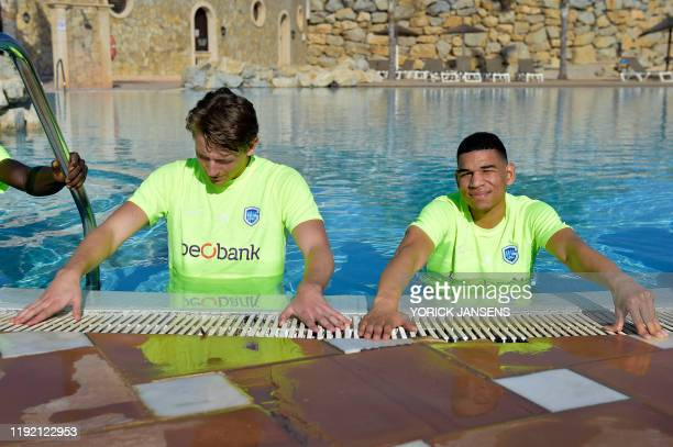 Genk's Sander Berge and Genk's Shawn Adewoye pictured during the winter training camp of Belgian first division soccer team KRC Genk in Benidorm...