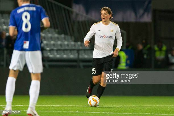 Genk's Sander Berge controls the ball during the UEFA Europa League Group I football match Sarpsborg v RC Genk in Sarpsborg Norway on October 4 2018...