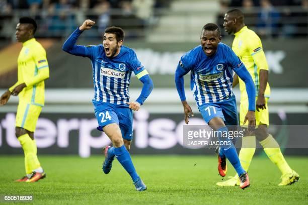 Genk's Spanish midfielder Alejandro Pozuelo and Genk's Tanzanian forward Mwbana Ally Samatta celebrate a goal during the UEFA Europa League round of...