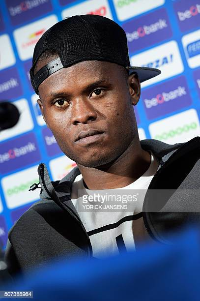 KRC Genk's Tanzanian new forward Mwbana Ally Samatta gives a press conference during his presentation to the press on January 29 2016 in Genk / AFP /...