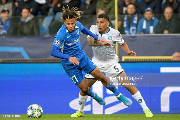 Genk's Theo Bongonda and Napoli's Allan fight for the ball during the match between Belgian soccer team RC Genk and Italian club SSC Napoli Wednesday...