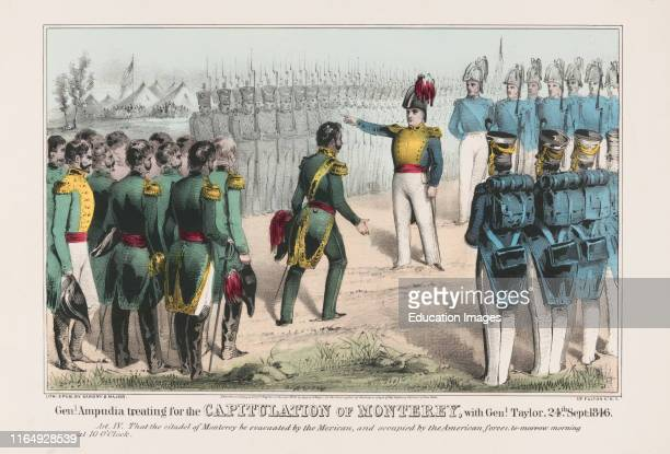Genl Ampudia Treating for the Capitulation of Monterey, with Genl Taylor, 24th Sept 1846, Lithograph, Published by Sarony & Major, 1848.
