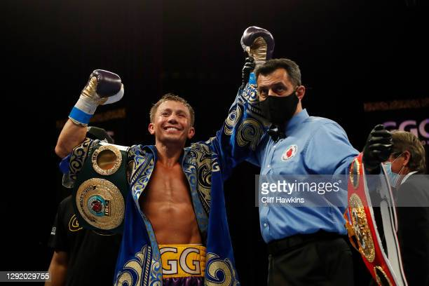 Gennadiy Golovkin celebrates defeating Kamil Szeremeta in their IBF Middleweight title bout at Seminole Hard Rock Hotel & Casino on December 18, 2020...