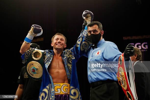Gennadiy Golovkin celebrates defeating Kamil Szeremeta in their IBF Middleweight title bout at Seminole Hard Rock Hotel & Casino on December 18, 2020...