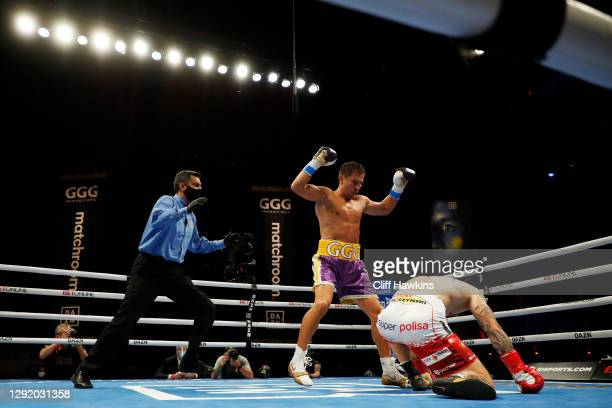 Gennadiy Golovkin knocks down Kamil Szeremeta in their IBF Middleweight title bout at Seminole Hard Rock Hotel & Casino on December 18, 2020 in...