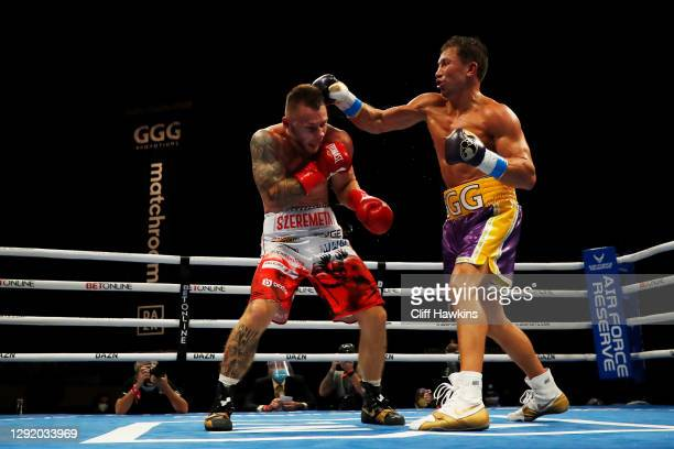 Gennadiy Golovkin lands a blow to Kamil Szeremeta in their IBF Middleweight title bout at Seminole Hard Rock Hotel & Casino on December 18, 2020 in...