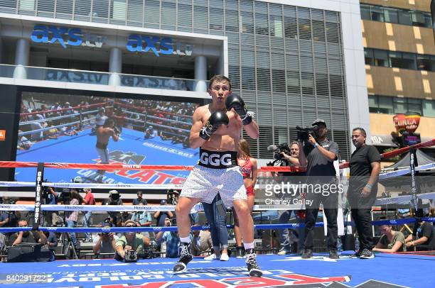 Gennady 'GGG' Golovkin hosts fans for an open workout at LA LIVE on August 28 2017 in Los Angeles California Chivas Regal has teamed up with GGG for...