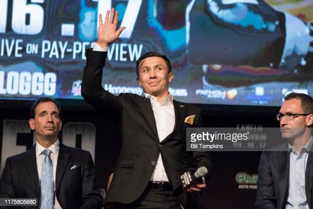 Gennady Golovkin acknowledges the corwd during the Canelo Alvarez vs Gennady Golovkin press conference at Madsion Square Garden June 20, 2017 in New...