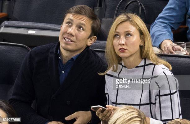 Gennady Golovkin and Alina Golovkina attend Edmonton Oilers Vs New York Rangers at Madison Square Garden on November 3 2016 in New York City
