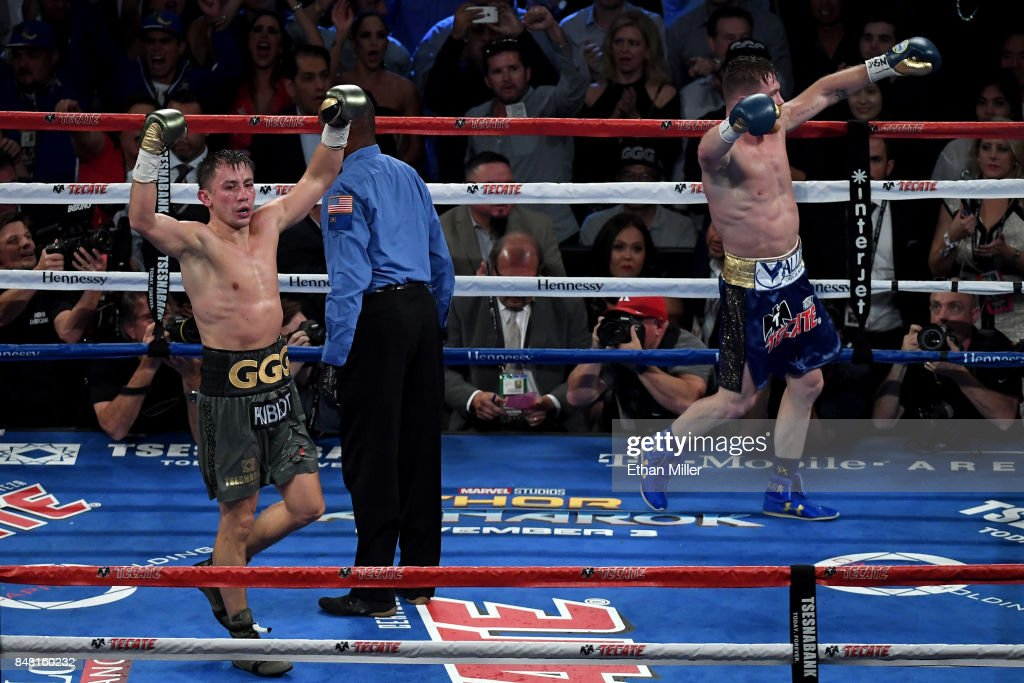 Gennady Golovkin and Canelo Alvarez both celebrate after the final round in their WBC, WBA and IBF middleweight championship bout at T-Mobile Arena on September 16, 2017 in Las Vegas, Nevada.