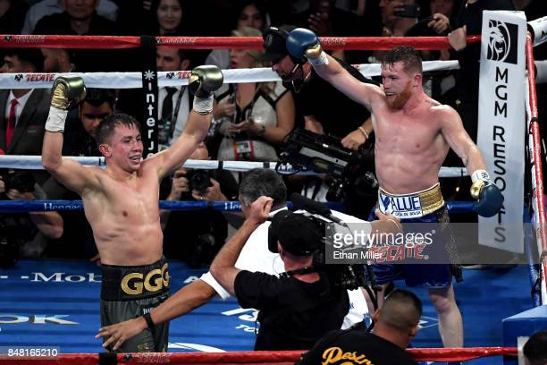 Gennady Golovkin and Canelo Alvarez both celebrate after the final round in their WBC, WBA and IBF middleweight championship bout at T-Mobile Arena...