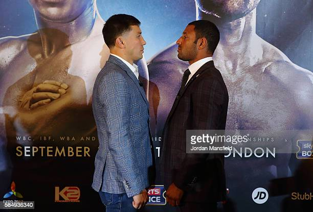 Gennady Golovkin and Kell Brook go headtohead during the press conference ahead of the fight between Gennady Golovkin and Kell Brook at the...