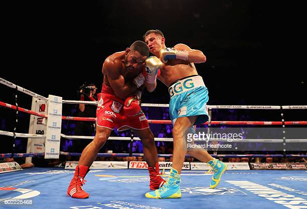 Gennady Golovkin and Kell Brook in action during their World Middleweight Title contest at The O2 Arena on September 10, 2016 in London, England.