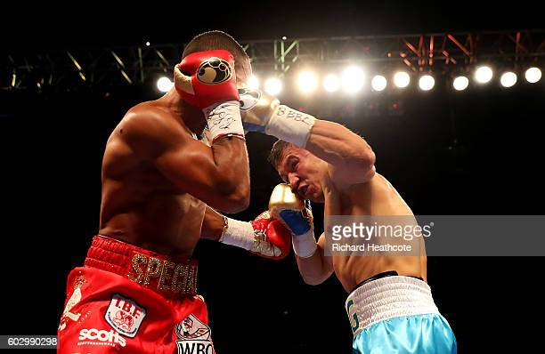 Gennady Golovkin and Kell Brook in action during their World Middleweight Title contest at The O2 Arena on September 10 2016 in London England