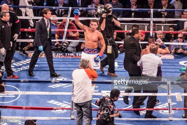 October 17: Gennady Golovkin defeats David Lemieux by TKO in the 8th round in their Middleweight fight on October 17, 2015 in New York City.