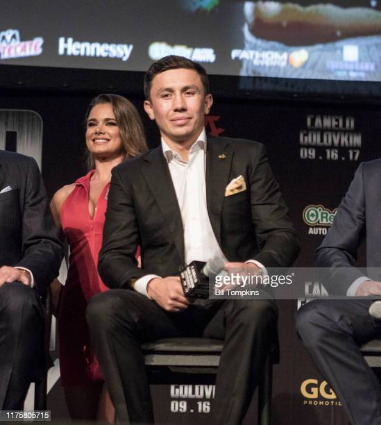 Gennady Golovkin during the Canelo Alvarez vs Gennady Golovkin press conference at Madsion Square Garden June 20, 2017 in New York City.