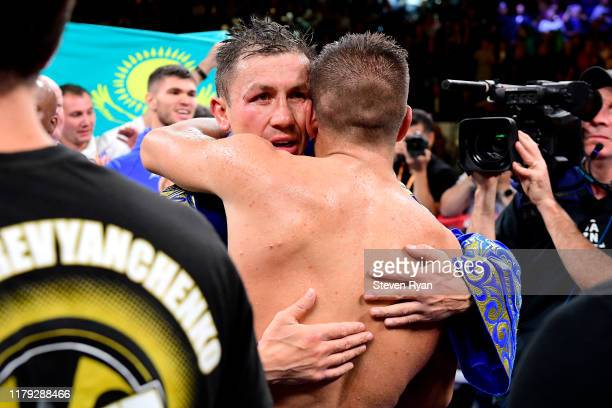 Gennady Golovkin embraces Sergiy Derevyanchenko following their IBF middleweight title bout at Madison Square Garden on October 05 2019 in New York...