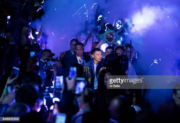 Gennady Golovkin enters the ring against Canelo Alvarez before their WBC, WBA and IBF middleweight championship bout at T-Mobile Arena on September...