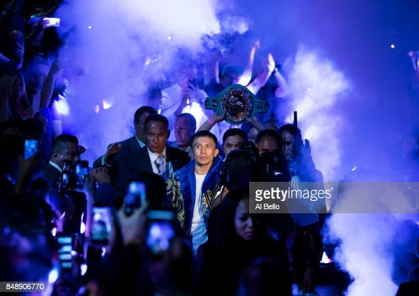 Gennady Golovkin enters the ring against Canelo Alvarez before their WBC WBA and IBF middleweight championship bout at TMobile Arena on September 16...