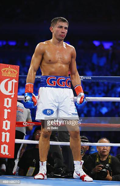 Gennady Golovkin fights David Lemieux during their WBA/WBC interim/IBF middleweight title unification bout at Madison Square Garden on October 17...