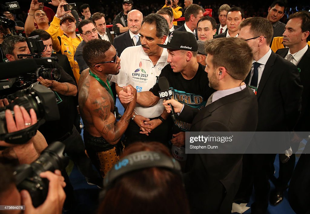 Gennady Golovkin (R) greets Willie Monroe Jr. after their World Middleweight Championship fight at The Forum on May 16, 2015 in Inglewood, California. Golovkin won on a TKO in the sixth round.