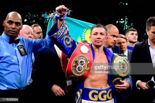 Gennady Golovkin is awarded victory in his IBF middleweight title bout against Sergiy Derevyanchenko at Madison Square Garden on October 05, 2019 in...