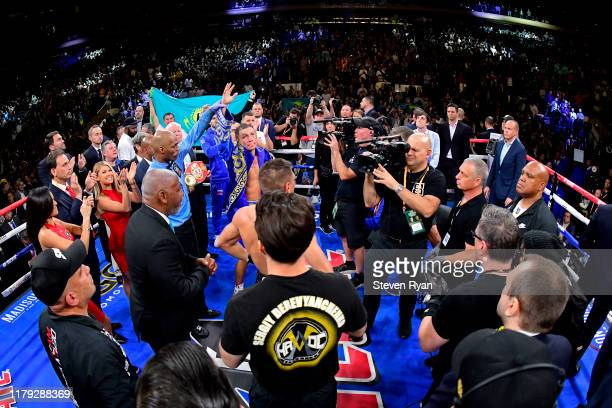 Gennady Golovkin is awarded victory in his IBF middleweight title bout against Sergiy Derevyanchenko at Madison Square Garden on October 05 2019 in...