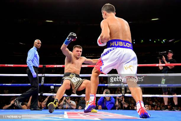 Gennady Golovkin knocks down Sergiy Derevyanchenko in the first round during their IBF middleweight title bout at Madison Square Garden on October 05...