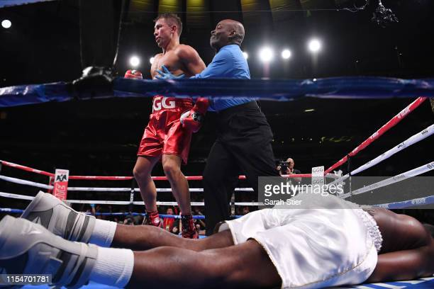 Gennady Golovkin of Kazakhstan knocks out Steve Rolls of Canada in the fourth round of their Super Middleweights fight at Madison Square Garden on...