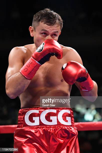 Gennady Golovkin of Kazakhstan looks on during his Super Middleweights fight against Steve Rolls of Canada at Madison Square Garden on June 08 2019...