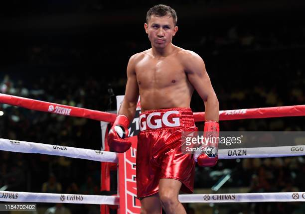 Gennady Golovkin of Kazakhstan looks on during his Super Middleweights fight against Steve Rolls of Canada at Madison Square Garden on June 08, 2019...