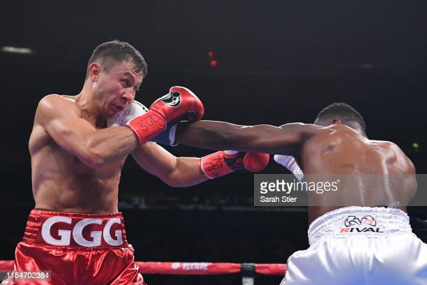 Gennady Golovkin of Kazakhstan trades punches with Steve Rolls of Canada during their Super Middleweights fight at Madison Square Garden on June 08...