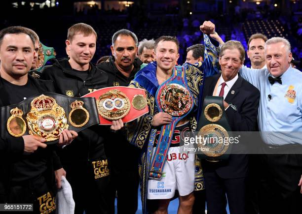 Gennady Golovkin poses with his belts after a second round knockout win over Vanes Martirosyan during the WBC-WBA Middleweight Championship at...