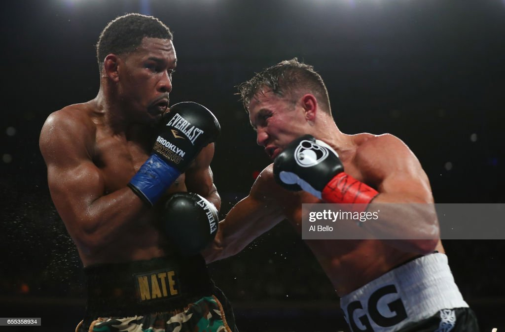 Gennady Golovkin punches Daniel Jacobs during their Championship fight for Golovkin's WBA/WBC/IBF middleweight title at Madison Square Garden on March 18, 2017 in New York City.