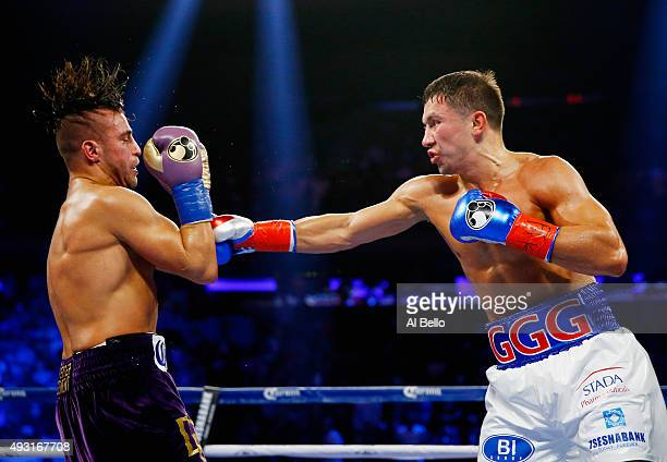 Gennady Golovkin punches David Lemieux during their WBA/WBC interim/IBF middleweight title unification bout at Madison Square Garden on October 17...