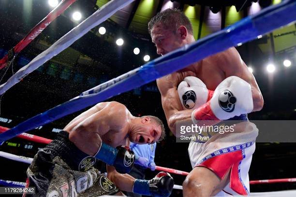 Gennady Golovkin punches Sergiy Derevyanchenko during their IBF middleweight title bout at Madison Square Garden on October 05, 2019 in New York City.