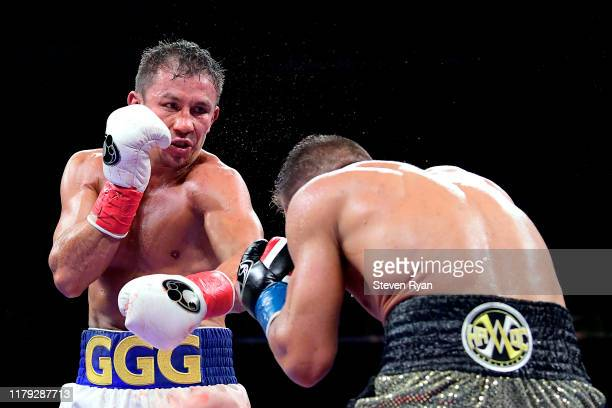 Gennady Golovkin punches Sergiy Derevyanchenko during their IBF middleweight title bout at Madison Square Garden on October 05 2019 in New York City